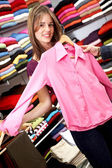 Casual woman shopping clothes — Stock Photo
