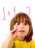 Chlapec dělá matematika — Stock fotografie
