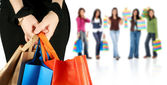 Group of girls shopping — Stock Photo