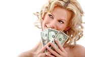 Woman holding dollar bills — Stock Photo