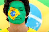 Brazilian flag portrait — ストック写真