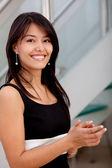 Business woman applauding — Stock Photo