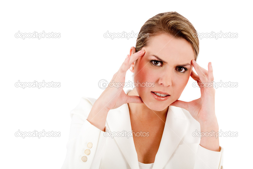 Stressed business woman - isolated over a white background — Stock Photo #7760049
