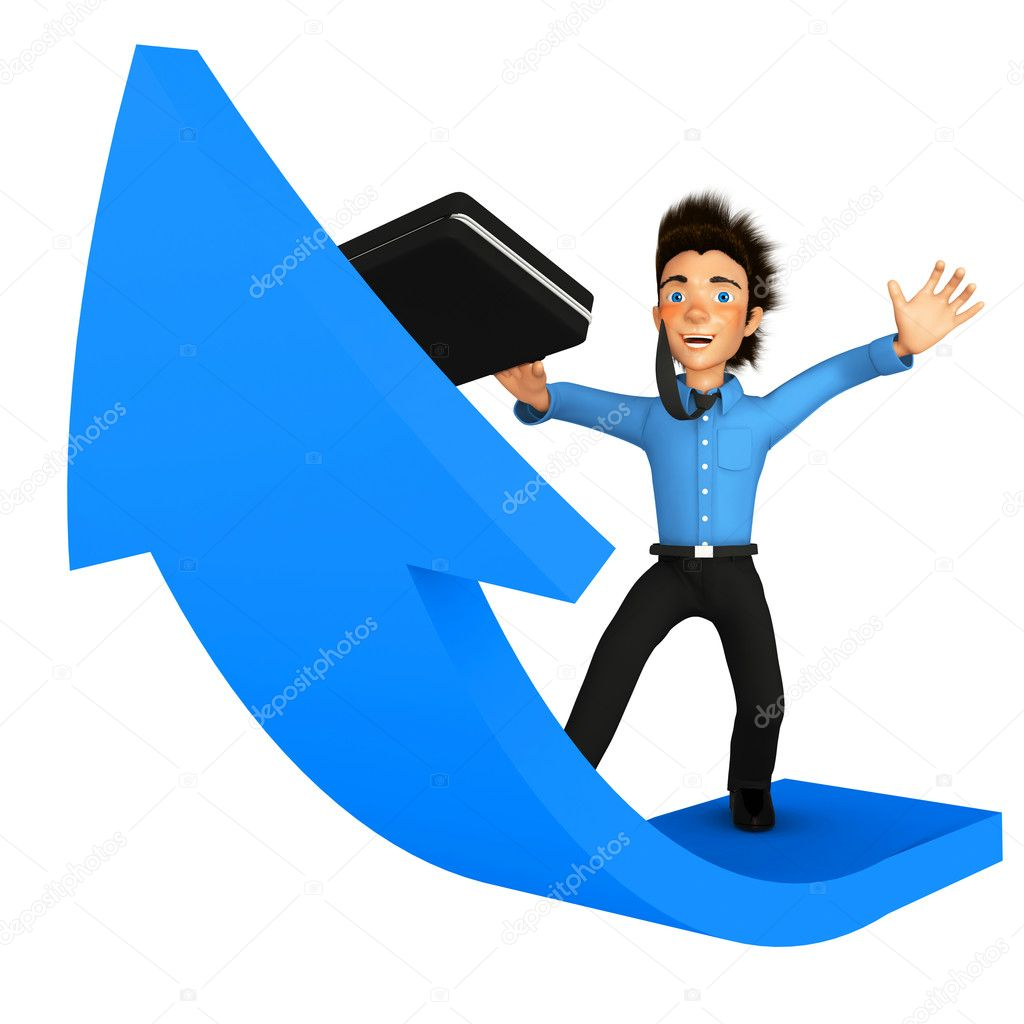 3D successful business man climbing up on an arrow - isolated — Stock Photo #7761889