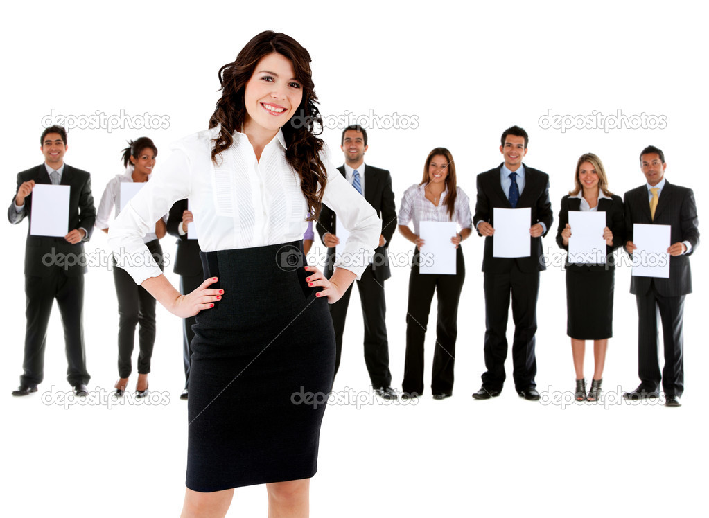 Business woman leading a corporate group holding banners Ð isolated — Stock Photo #7761954