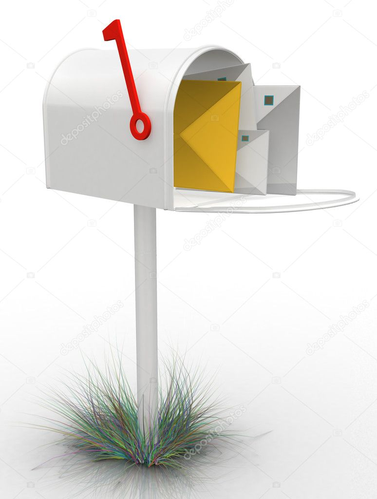 3D mailbox- isolated over a white background — Foto de Stock   #7762146