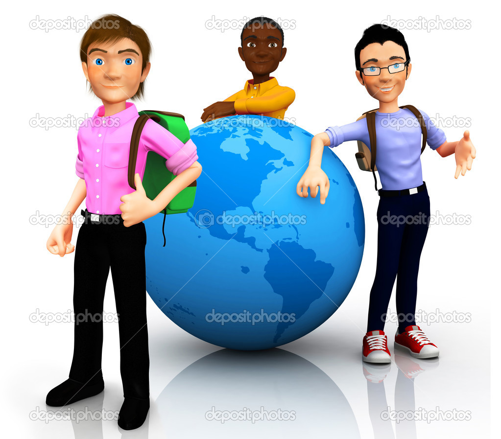 3D worldwide travelers with the globe and a backpack Ð isolated — Stock Photo #7762207