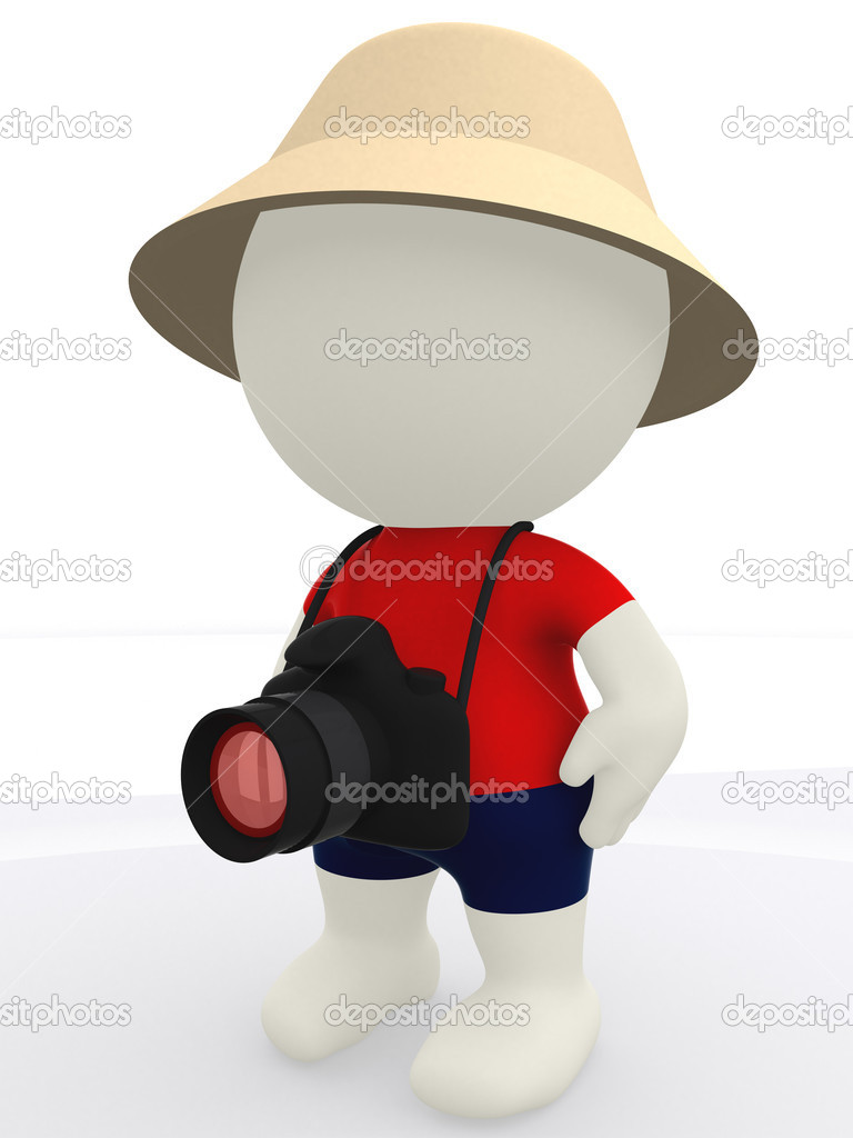 3D tourist with a digital camera and a hat - isolated — Stock Photo #7762341