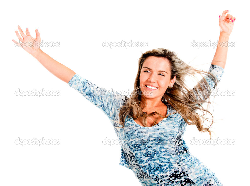 Carefree woman feeling the wind blow her hair and enjoying her freedom - isolated — Stock Photo #7764408