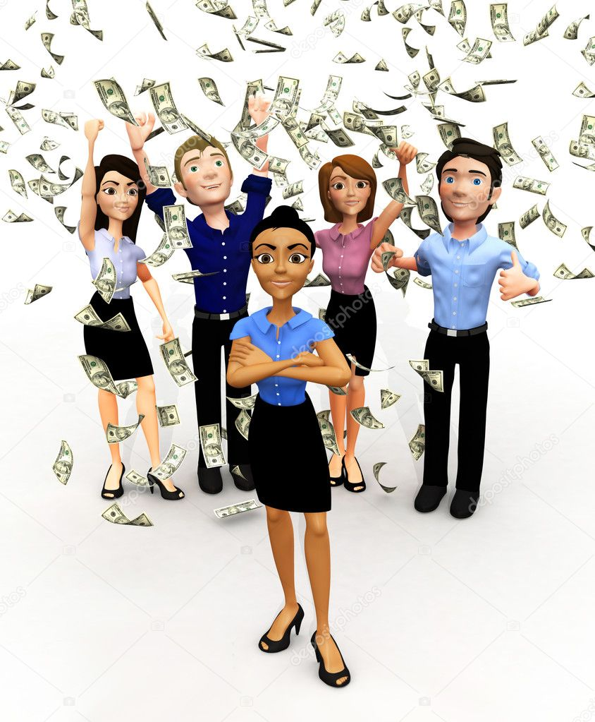 3D business group under a money rain - isolated over a white background — Stock Photo #7764577