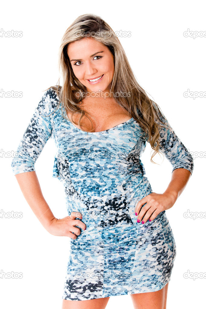 Sexy girl posing in a short dress - isolated over awhite background — Stock Photo #7764597