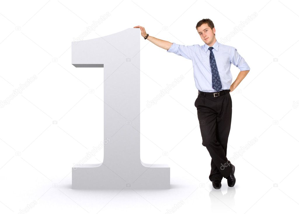Number one with a business man next to it - isolated over a white background — Stock Photo #7765191