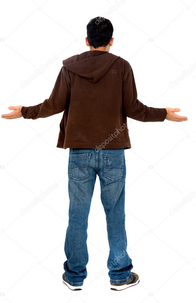 Lost man from behind - isolated over a white background  Stock Photo #7765336