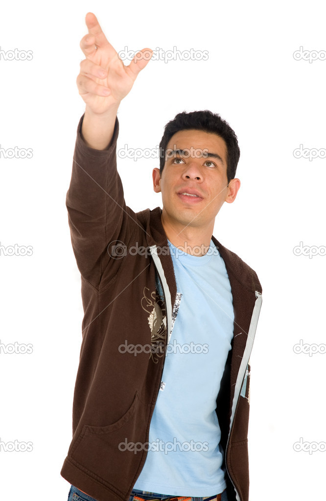 Casual man reaching out with his hand - isolated over a white background — Stock Photo #7765364