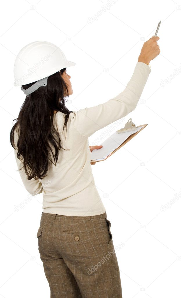 Woman architect isolated over a white background — Stock Photo #7765562