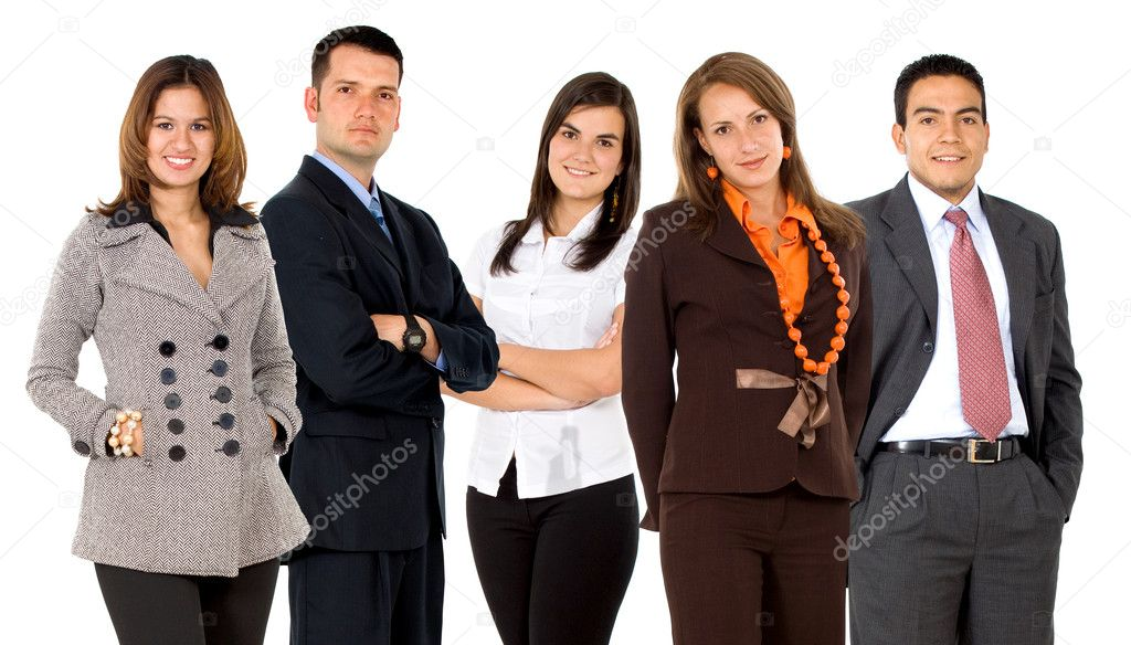Business team formed of young businessmen and businesswomen isolated over a white background  Stock Photo #7765709