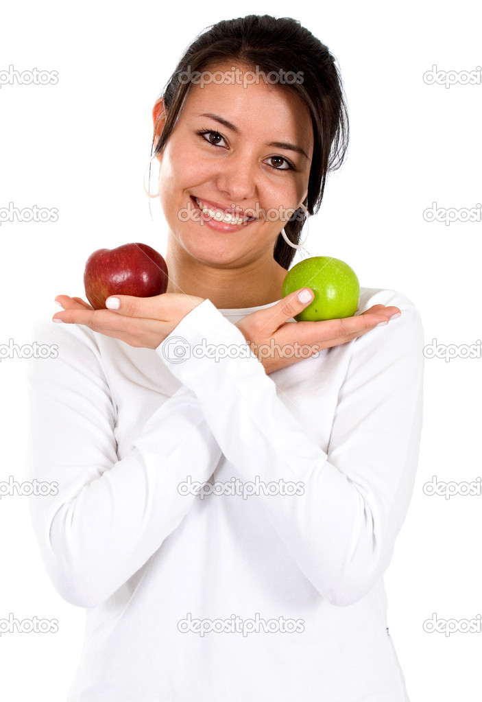 Casual woman with apples isolated over a white background  Stock Photo #7765855