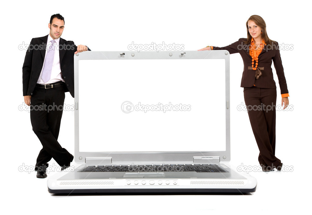 Business with a laptop computer isolated over a white background — Stock Photo #7766028