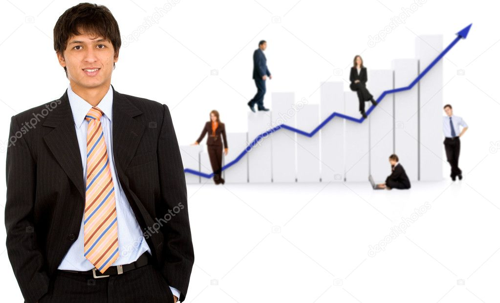 Business man in front of a group of business with a chart representing growth and success - isolated over a white background — Stock Photo #7766110
