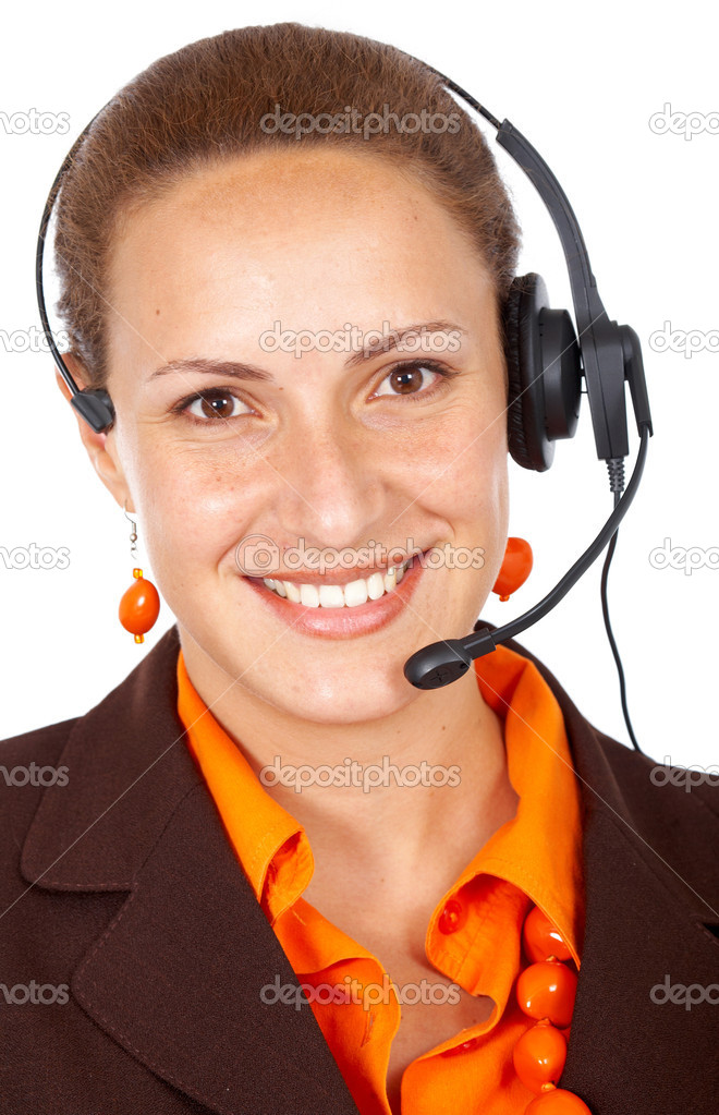Beautiful business customer service woman, smiling isolated over a white background — Stock Photo #7766806