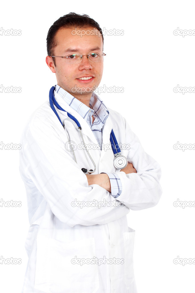 Man doctor smiling isolated over a white background — Stock Photo #7767090
