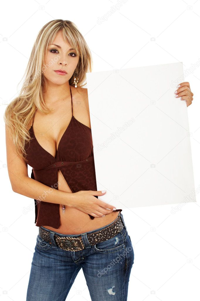 Beautiful sexy woman holding a banner add isolated over a whtie background — Zdjęcie stockowe #7767640