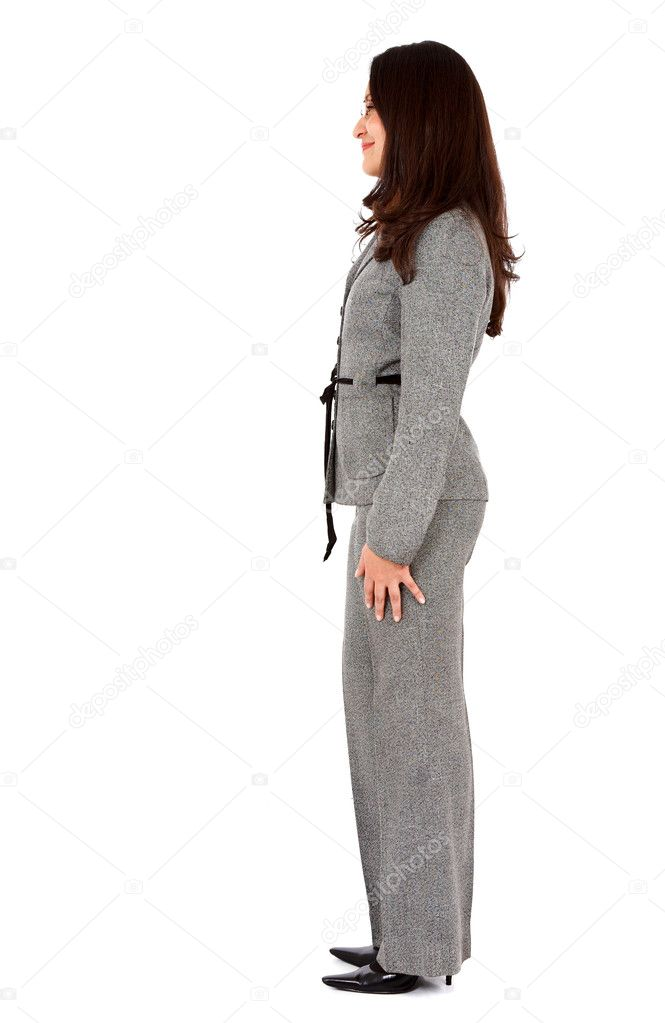 Business woman standing sideways - Stock ImageWoman Standing Side White Background