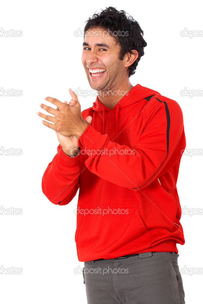 Casual man clapping isolated over a white background — Stock Photo #7767942