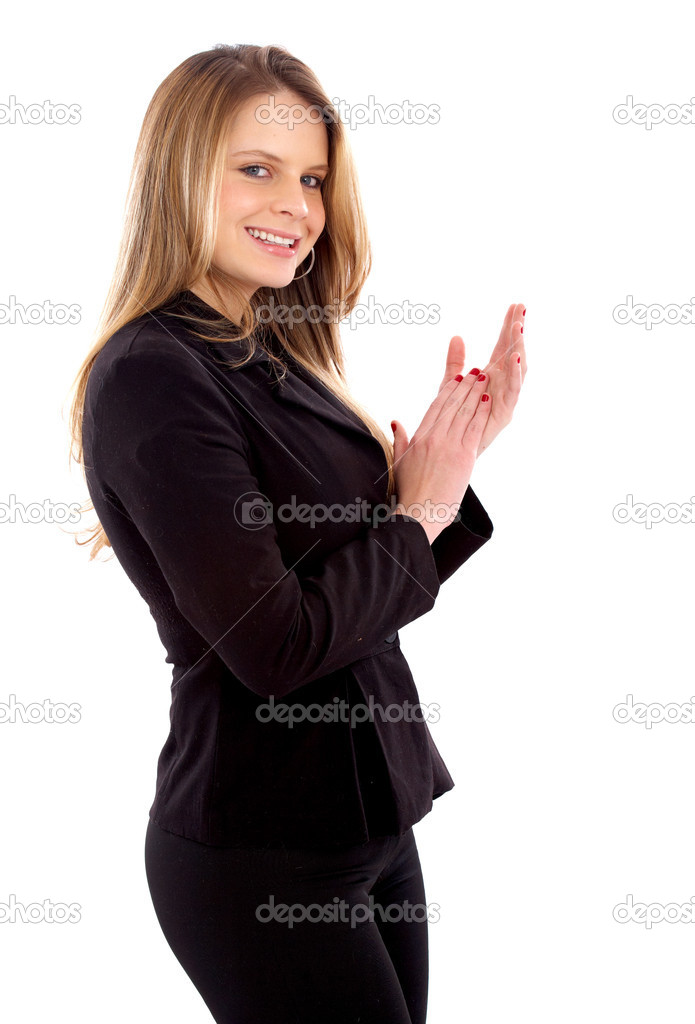 Business woman clapping isolated over a white background — Stock Photo #7767950