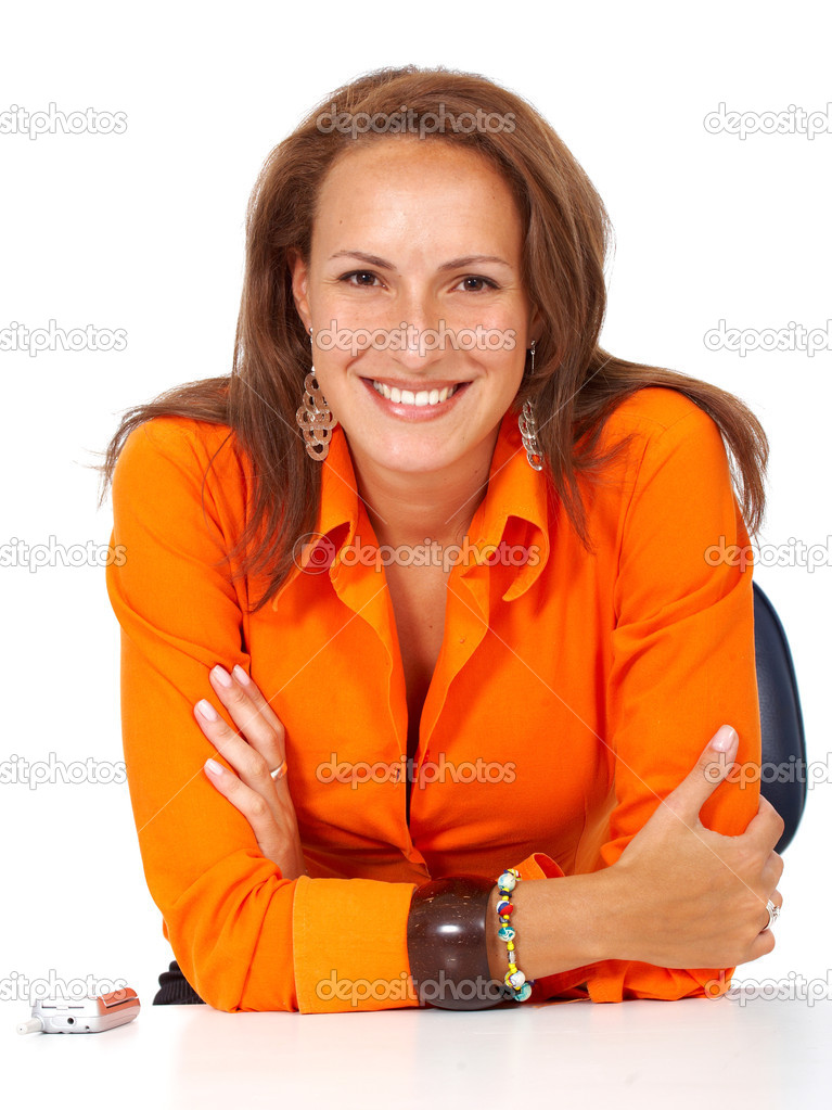 Business woman portrait - isolated over a white background — Stockfoto #7768060