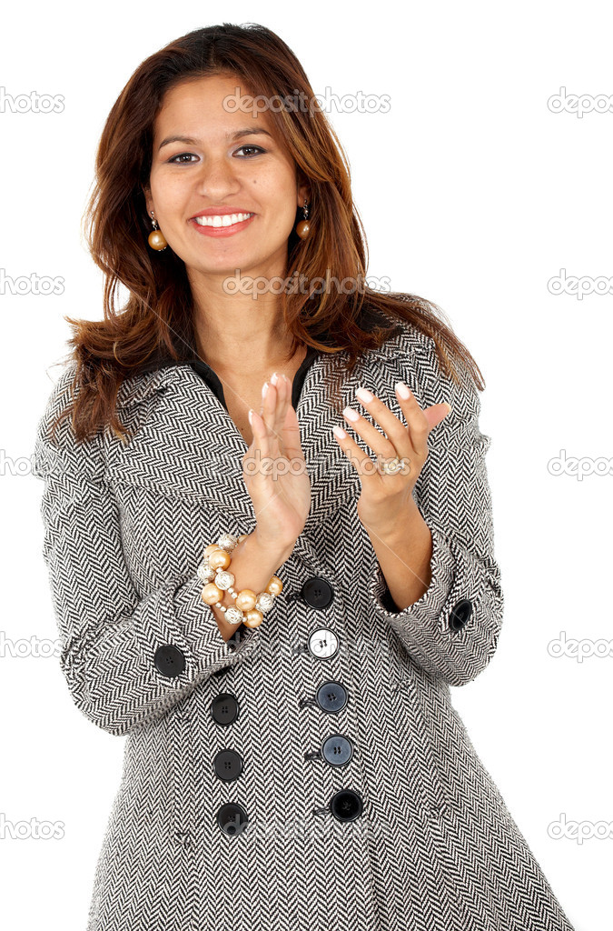 Business woman clapping isolated over a white background — Stock Photo #7768149