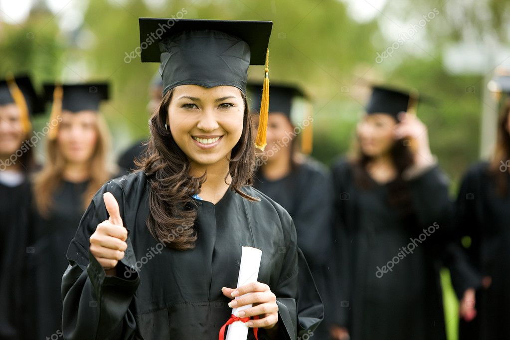 Graduation girl holding her diploma with pride  Stock Photo #7768541