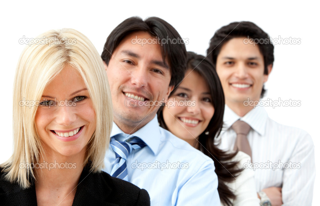 Group of business smiling isolated over a white background — Stock Photo #7768854