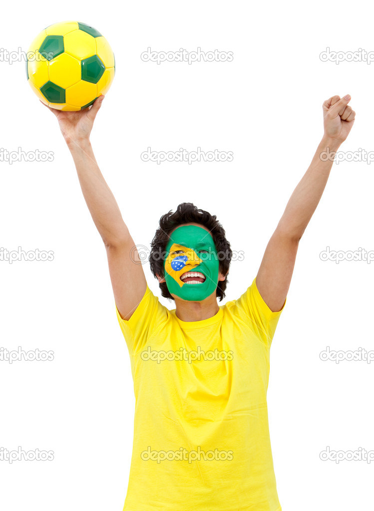 Brazilian football fan with the flag painted on his face - isolated over white — Stock Photo #7769186