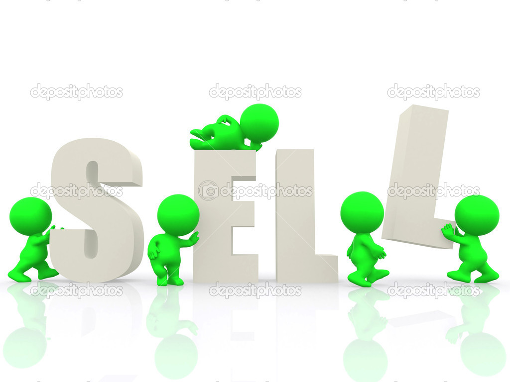 3D around the word sell - isolated over a white background — Stock Photo #7769667
