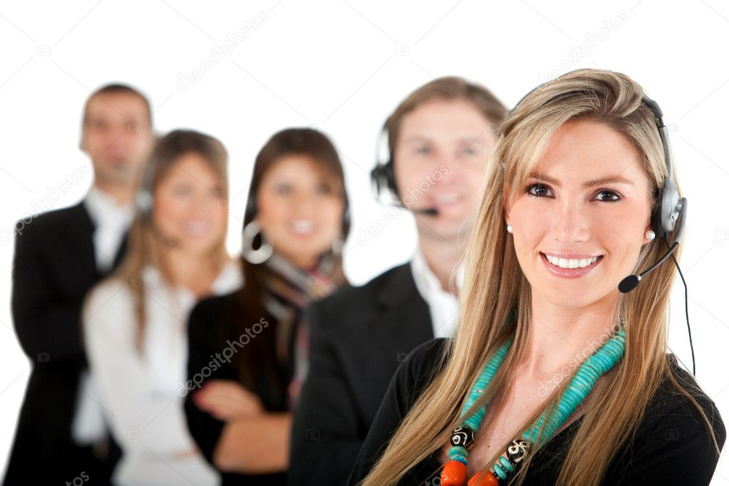 Group of call center workers - isolated over a white background — Stock Photo #7769781