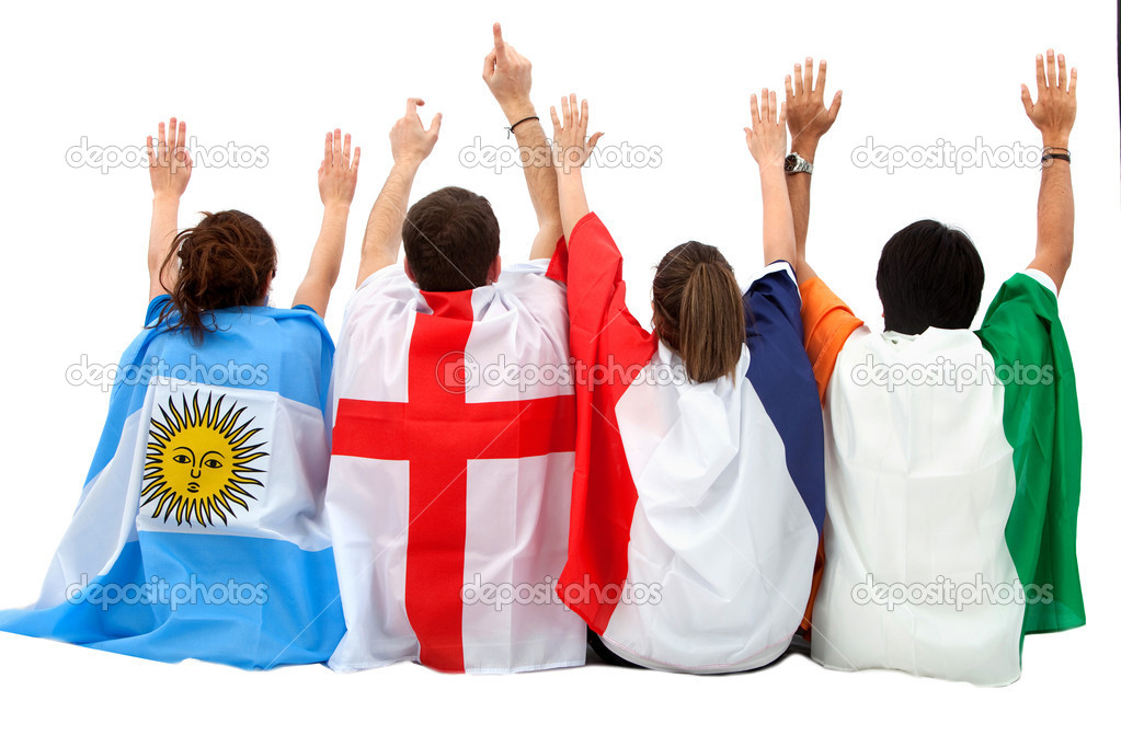 Patriotic group of from different countries with flags isolated - rear view — Stock Photo #7769860