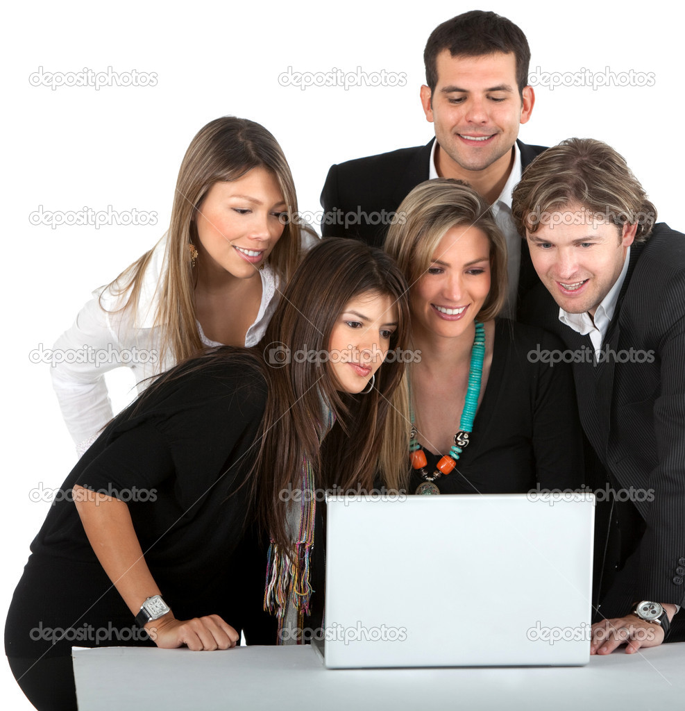 Business with a laptop computer - isolated over a white background — Stock Photo #7769905