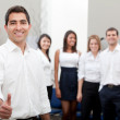 Business man with a group — Stock Photo #7770172