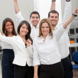 Business group with arms up — Stock Photo #7770177