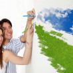 Happy couple drawing — Stock Photo