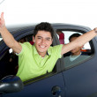 Happy man in a car — Foto Stock