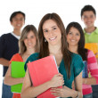 Stock Photo: Female student with a group