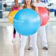 With pilates ball — 图库照片