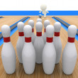 3D guy bowling - Stock Photo