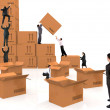 Business piling up boxes — Stock Photo