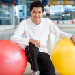 Man with pilates ball — Stock Photo