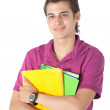 Male student with notebooks - Stock Photo