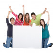 Group with a banner — Stock Photo