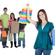 Shopping woman with a group — Stockfoto